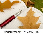pen sitting on the notebook... | Shutterstock . vector #217547248