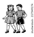 Retro Children - Clipart Illustration   Shutterstock vector #217549174