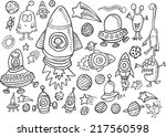 outer space doodle vector... | Shutterstock .eps vector #217560598