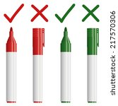 marker red   green with cross   ... | Shutterstock .eps vector #217570306
