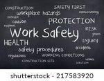 work safety word cloud   Shutterstock . vector #217583920
