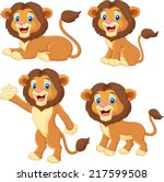 cartoon lion collection set | Shutterstock .eps vector #217599508