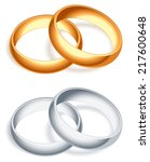 golden and silver wedding rings. | Shutterstock . vector #217600648