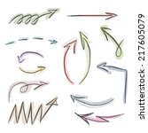 vector set of hand drawn arrows ... | Shutterstock .eps vector #217605079