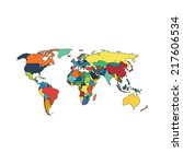 political map of world with... | Shutterstock .eps vector #217606534