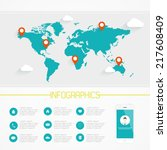 world map infographics. vector... | Shutterstock .eps vector #217608409
