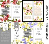 set of invitations with floral... | Shutterstock .eps vector #217609804