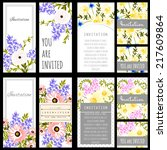 set of invitations with floral... | Shutterstock .eps vector #217609864