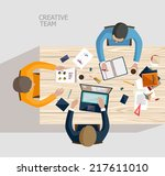 business meeting and... | Shutterstock .eps vector #217611010