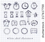 set of doodle sketch watches.... | Shutterstock .eps vector #217617700