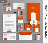 orange stationery template...   Shutterstock .eps vector #217619503