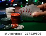 Chips And Cards For Poker In...
