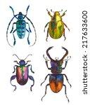 set of watercolor beetles | Shutterstock . vector #217633600