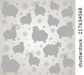 pattern with sheep. ... | Shutterstock . vector #217634068