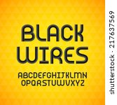 wired wavy cable  black contour ... | Shutterstock .eps vector #217637569