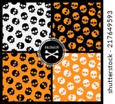set of  halloween patterns with ... | Shutterstock .eps vector #217649593