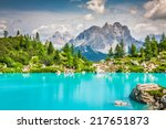 turquoise sorapis lake  in... | Shutterstock . vector #217651873