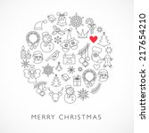 christmas ball   black and... | Shutterstock .eps vector #217654210