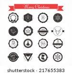 set of designs for christmas ... | Shutterstock .eps vector #217655383
