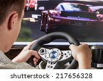 teen playing in the race behind ... | Shutterstock . vector #217656328