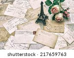 roses  antique french postcards ... | Shutterstock . vector #217659763