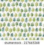 watercolor forest. seamless... | Shutterstock . vector #217665268