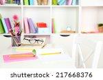 workplace in classroom | Shutterstock . vector #217668376