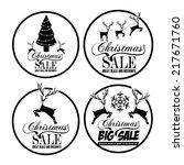 christmas  sale label over... | Shutterstock .eps vector #217671760