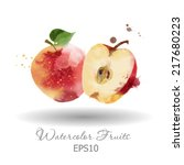 watercolor vector fruits. apple   Shutterstock .eps vector #217680223