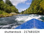 view of approaching white water ... | Shutterstock . vector #217681024