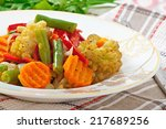 steamed vegetables  ... | Shutterstock . vector #217689256