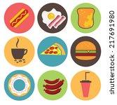 fast food icons set for menu ...