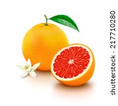 whole grapefruit with leaf ... | Shutterstock .eps vector #217710280