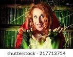 portrait of a pretty funny... | Shutterstock . vector #217713754