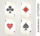 Four Aces Playing Cards Vector...