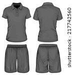 men's black short sleeve polo... | Shutterstock .eps vector #217742560