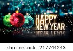 happy new year hanging baubles... | Shutterstock . vector #217744243