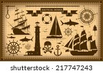 set of nautical design elements.... | Shutterstock . vector #217747243
