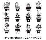 set of plants in pots | Shutterstock .eps vector #217749790