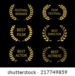 vector film awards  gold award... | Shutterstock .eps vector #217749859