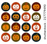 halloween icon set of cheerful... | Shutterstock .eps vector #217779490