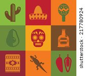 bright square cut paper mexican ... | Shutterstock .eps vector #217780924