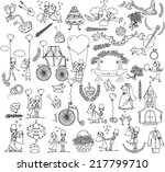 doodle wedding set for... | Shutterstock .eps vector #217799710