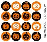 halloween icon set of cheerful... | Shutterstock .eps vector #217803949