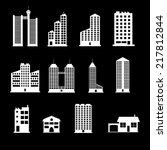 buildings icons set | Shutterstock .eps vector #217812844
