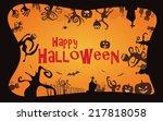 halloween border background ... | Shutterstock .eps vector #217818058