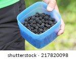 blackberries in a blue plastic... | Shutterstock . vector #217820098