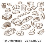 vector hand drawn bread on... | Shutterstock .eps vector #217828723