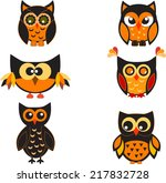 owls vector  halloween owls ... | Shutterstock .eps vector #217832728