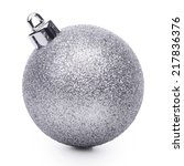silver christmas ball isolated... | Shutterstock . vector #217836376